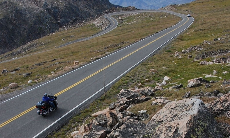Motorcycle on Beartooth Pass